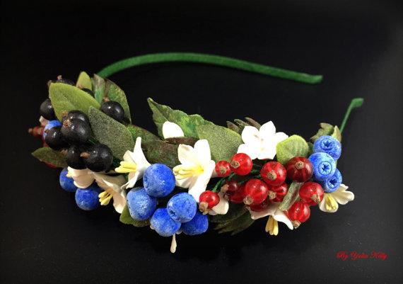 Berries headband, Flower headband, Floral headband, Polymer clay flower, Polymer clay headband, Hair accessories, Tiara with berries
