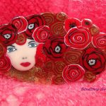 Brooch - a lovely lady in black and white polymer clay. Brooch party for yourself with cute gift bag.
