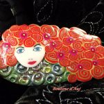 Brooch. A pretty brooch made of polymer clay. Country walk. With a pretty gift bag.