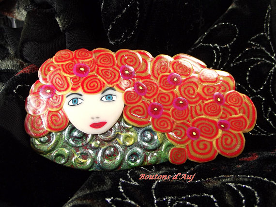 Face polymer clay brooches