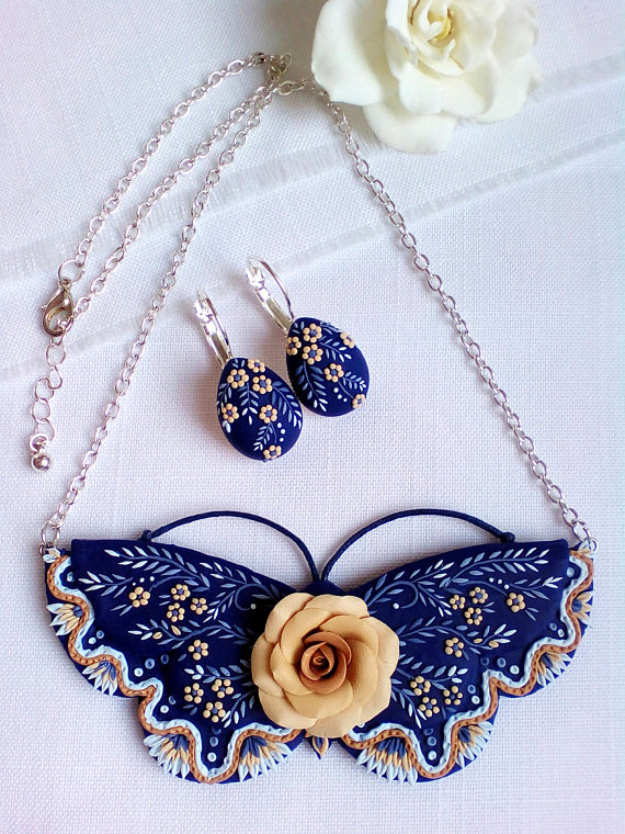 Adorable polymer clay applique jewelry