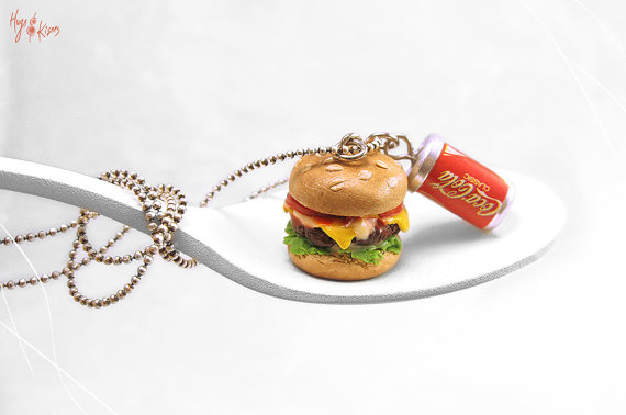 Cheeseburger Necklace, Hamburger Necklace, Soda Can Necklace, Fast Food Jewelry,Miniature Food Jewelry,Kawaii Jewelry, Pendant Teenager gift