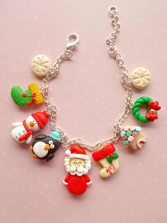 Polymer clay Christmas bracelets