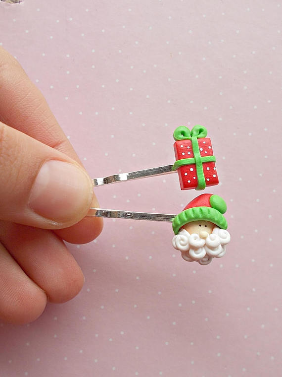 Christmas Hair Clips - Santa Hair Clip - Gift Hair Clip - Hair Accessories - Holiday Hair Accessories Clip - Christmas Girls Gift