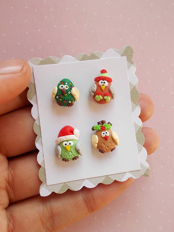 Polymer clay Christmas earrings ideas