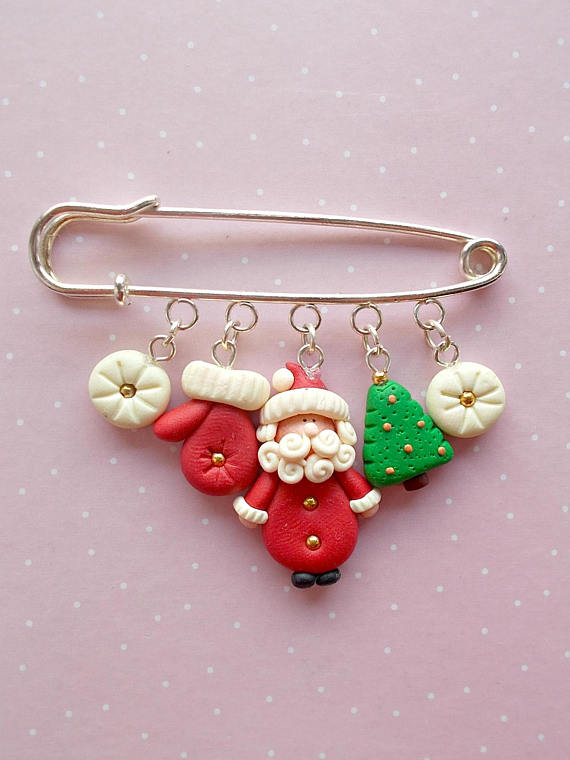 Christmas Brooches And Pins.Polymer Clay Safety Pin Brooches