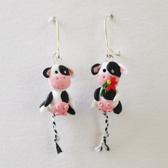 Polymer clay animals earrings