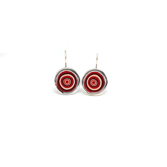 Polymer clay earrings inspired by murano glass patterns for Red black and green jewelry