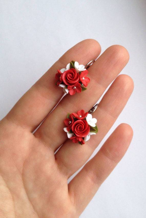Earrings Flower dangles Red green white Floral Red roses French lever back Hypoallergenic Surgical steel Polymer clay flowers Silver colored