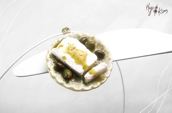 Feta Cheese Necklace, Olives Food Necklace, Traditional Greek Necklace, Miniature Food Jewelry, Polymer Clay, Mediterranean Necklace