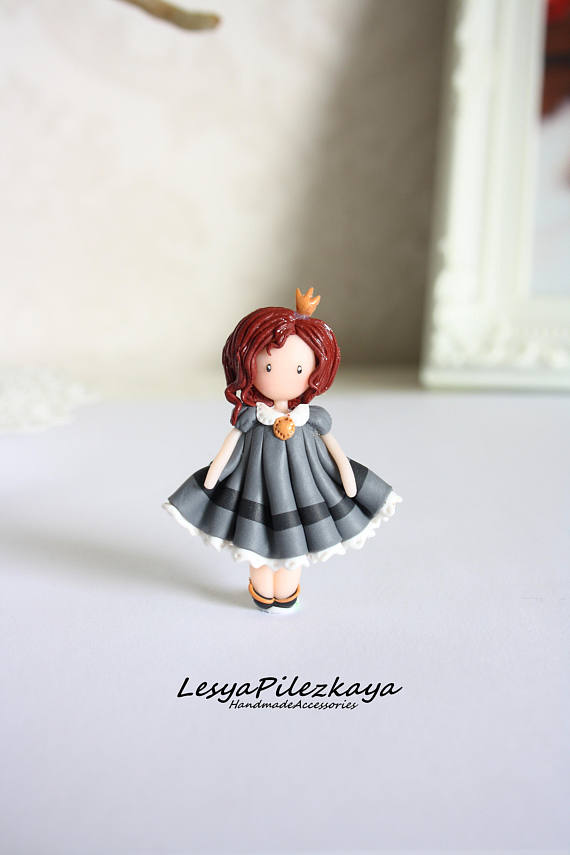 Polymer clay little girl brooch