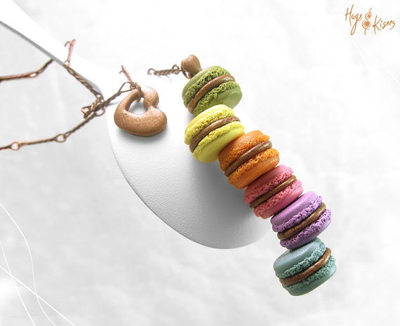Food Jewelry, Rainbow Macaron Necklace, Polymer Clay Necklace, Macaron Jewelry, Copper Necklace,Miniature Food,Kawaii Jewelry,Miniature Food