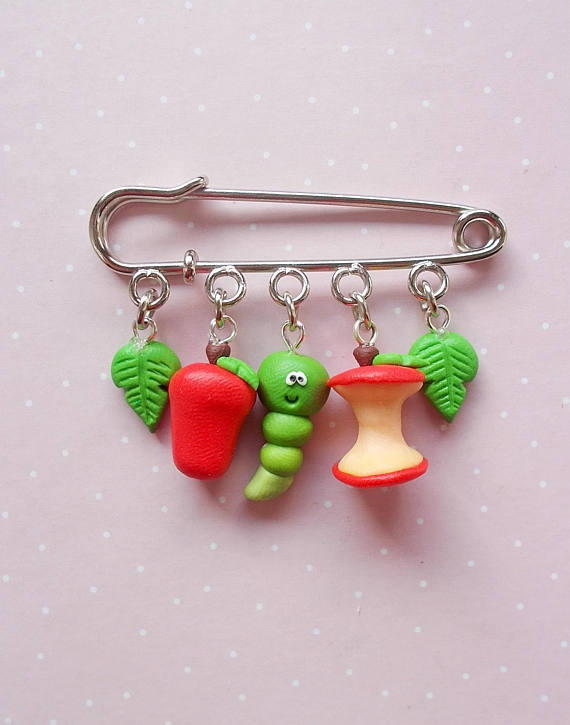 Polymer clay safety pin brooches