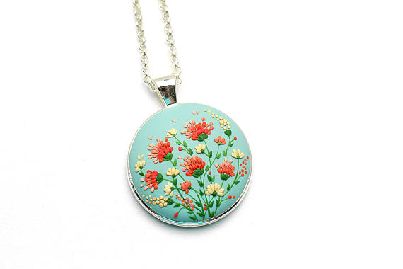 Polymer clay romantic pendants