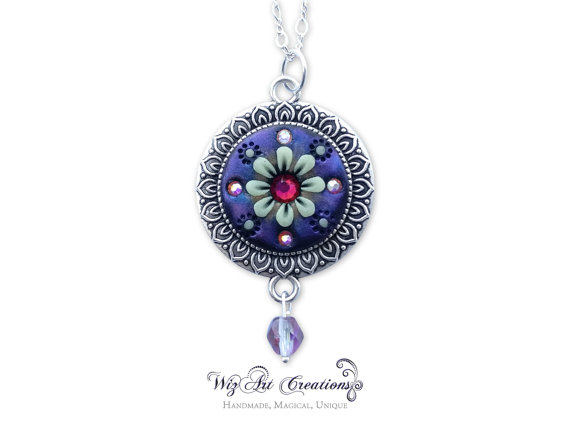 Glow in the Dark Jewelry, Handmade Polymer Clay Pendant, Luminescent Necklace , Color-Changing Crystal, 'Flower of the Night', Wearable Art
