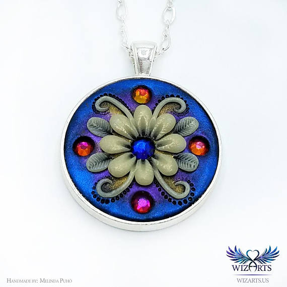Polymer clay applique technique pendants