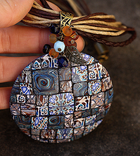 Amazing polymer clay round pendants