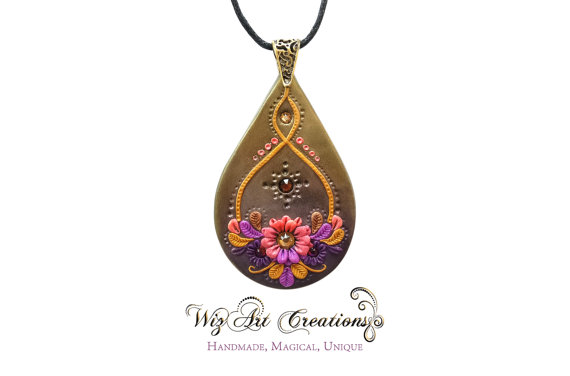 Handmade Polymer Clay Pendant, Handmade Jewelry with Swarovski Crystals, Clay Applique, Clay Embroidery, Golden Dawn, Wearable Art