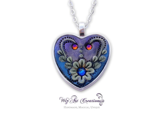 Heart Pendant, Handmade Jewelry, Polymer Clay Pendant, Glow in the Dark Jewelry, Luminescent Necklace, Love Pendant, 'Flower of the Night'