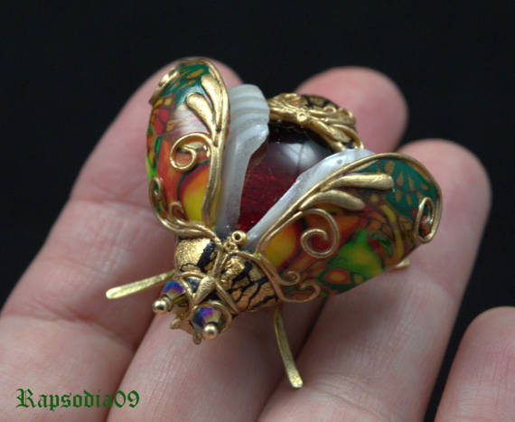 Polymer clay amazing insect brooch
