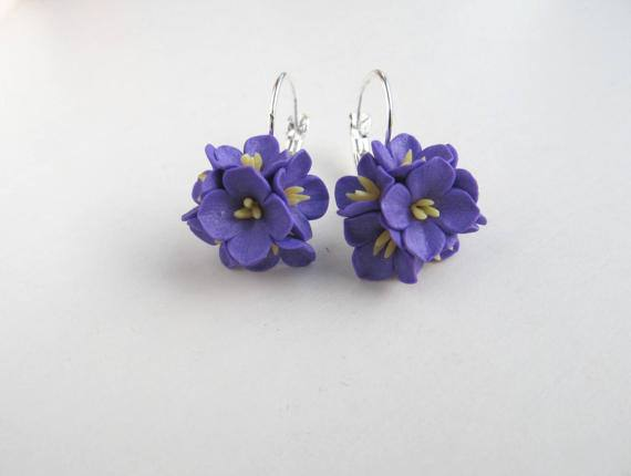 Lilac flowers dangle earrings Purple drops Floral cluster Spring French lever back Plant jewelry Girls gift Accessorie Bridesmaid set