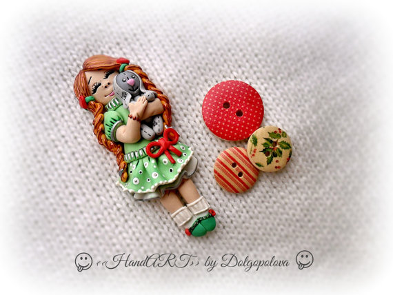 Polymer clay brooch - Handmade brooch - Bunny - Christmas gift - kid's fashion - for kids - Women's jewelry - polymer clay jewelry