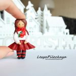 Polymer clay little girl brooch , girl in pink