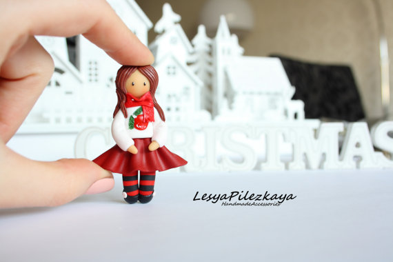 Polymer clay brooch little christmas girl