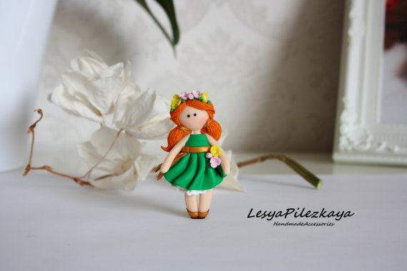 Polymer clay brooch little girl in green with flowers - spring or summer brooch