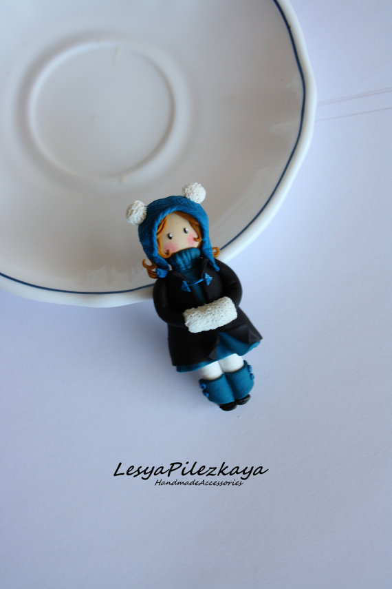 Polymer clay brooch - small girl in winter coat - winter jewelry