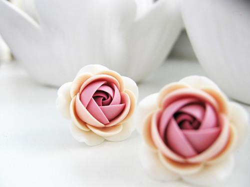 Polymer clay earring Cream Oldrose rose flower stainless steel Bridesmaids stud earrings