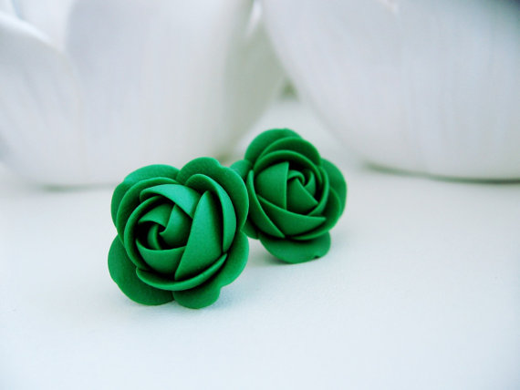 Polymer clay earrings - Activia Green Rose flower Stud earrings