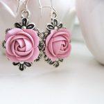 Polymer clay earrings – Old rose flower earrings Wedding earrings