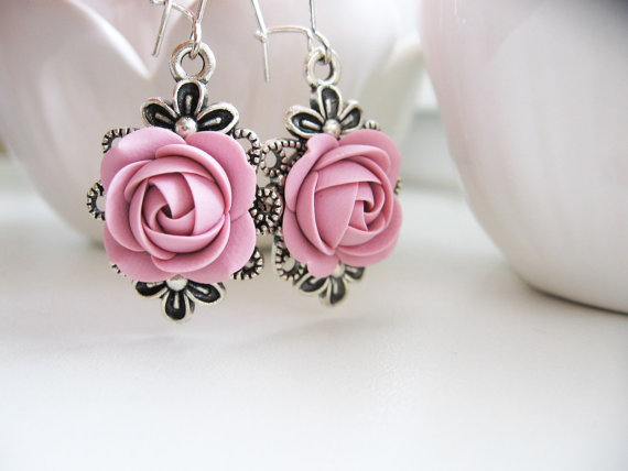 Polymer clay earrings - Old rose flower earrings Wedding earrings
