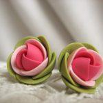 Polymer clay earrings – Pink green spring rose flower small stud earrings
