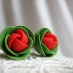 Polymer clay earrings – Red and green rose flower small stud earrings