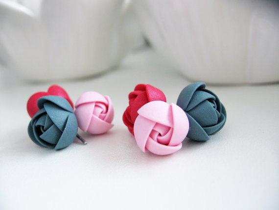 Polymer clay colored roses jewelry