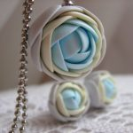 Polymer clay jewelry set – Light pastel grey, yellow, blue rose flower pendant with stainless steel ball chain and stud earrings