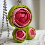 Polymer clay jewelry set – Raspberry pink green rose flower pendant with stainless steel ball chain and stud earrings