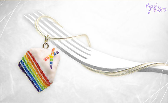 Rainbow Cake Necklace Mini Food Jewelry Foodie Gift Pendant Under 30 Birthday Charm Colorful