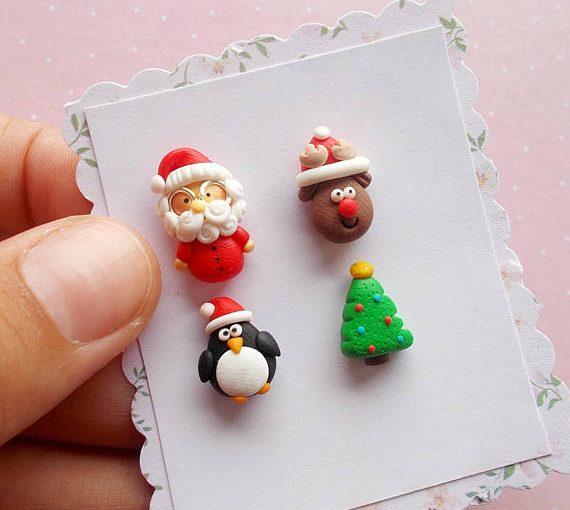 Polymer clay Christmas earrings ideas