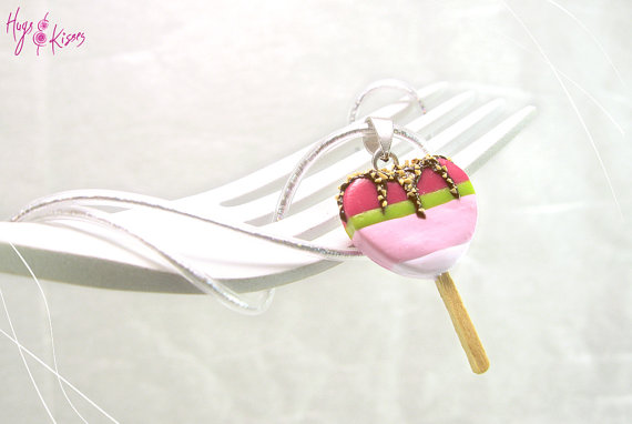 Scented Popsicle Charm, Popsicle Heart Necklace, Ice Cream Charm, Polymer Clay, Mini Food, Kawaii Jewelry,Girly gift,Foodie gift,Heart Charm