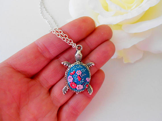 Silver turtle necklace, Flower necklace, colorful
