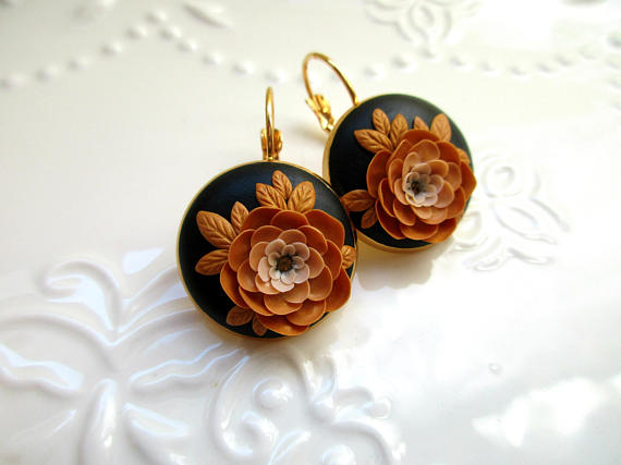 Sunny Gold Flower Black Earrings Christmas Gift Idea For Girlfriend Mother Of The Bride Groom Gifts Mom Birthday