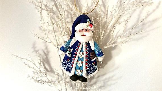Polymer clay Christmas Santa Claus decorations