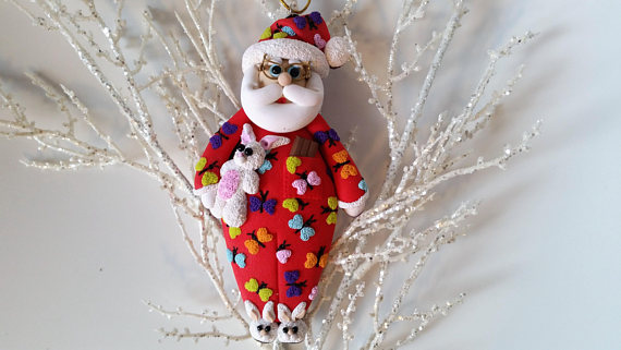 Polymer clay Christmas Santa Claus decorations
