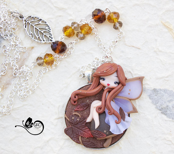 Cute polymer clay fairy necklace