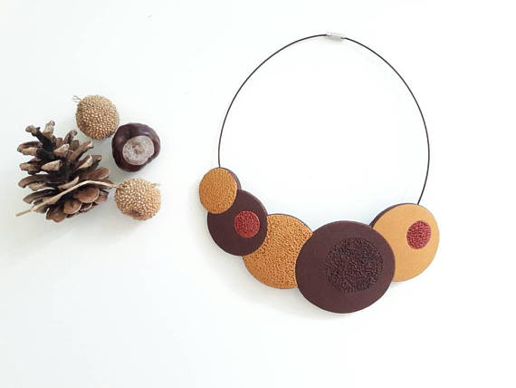 Autumn color polymer clay necklace, bib necklace, brown necklace, gift for her, statement necklace, fimo necklace, mustard color necklace]