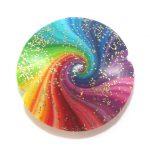 Bead, hand – made polymer clay spiral bead for making stocking stuffer ideas. Big rainbow rondelle bead. Spectrum lentil bead w gold specks.
