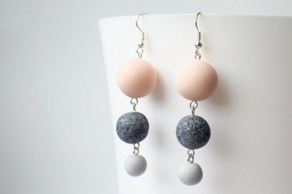 Beaded dangle earrings, Pastel Drop earrings, Beaded jewelry, Geometric earrings, Long earrings, Polymer clay earrings, Matte Ball earrings
